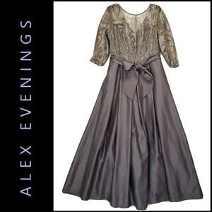Alex Evenings Woman Long Gown Mesh Puff  Size 14